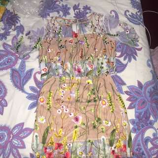 Princesspolly Embroidered crop Top Set Size 8