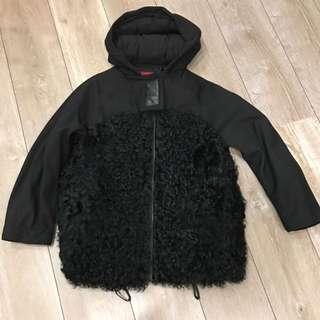 Moncler 紅標 0號 羊羔毛 黑色連帽子 羽絨外套
