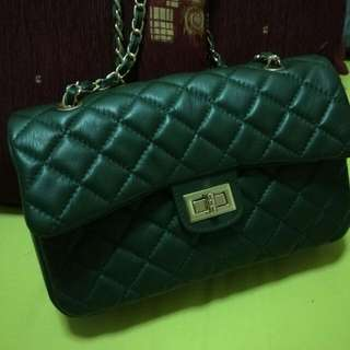 dark green quilted Flap