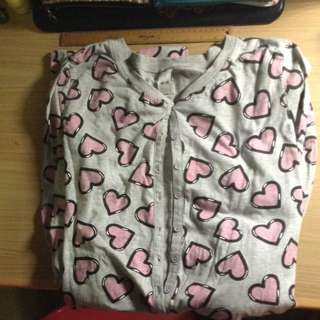 Grey And Pink Heart Onesie