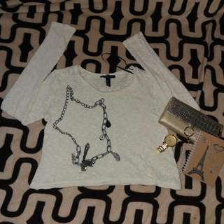 Knitted Cream Crop long sleeves top