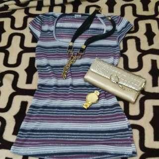 purple stripes blouse