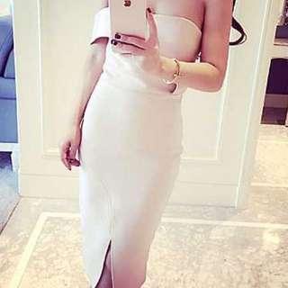 BNWT Neoprene Beige Off-shoulder Dress