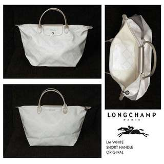 Longchamp LM White Medium Short Handle Authentic