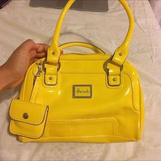 Patent Yellow Harrods Handbag - Make Offer