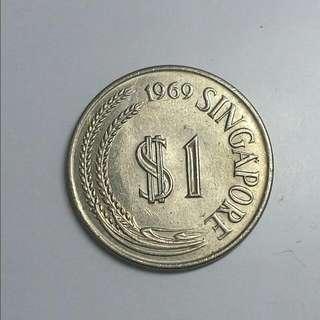 1969 $1Lionhead SG Coin