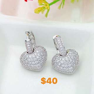 Heart micro paved earrings