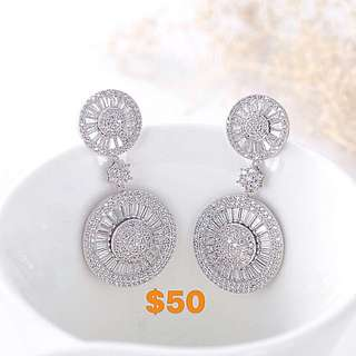 Dangling micropaved CZ stones earrings