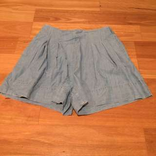 Zara High Waist Denim Pleated Shorts