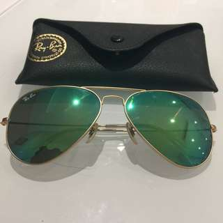 Ray-Ban Aviator Sunglasses - Gold/Green Mirror