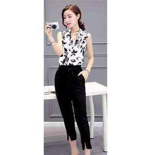 #580 Sleeveless Floral Top with Crop Pants (Terno)