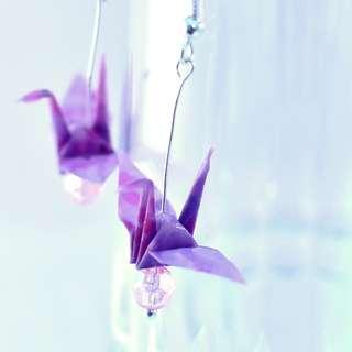 Origami Paper Crane Earrings - 09, traditional, Japanese, jewellery, cherry blossom, sakura, purple, pink