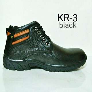 Sepatu Safety  full Kulit  Asli KR.3 - Hitam  Made In Majapahit Indonesia