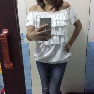 White Ruffles Off Shoulder