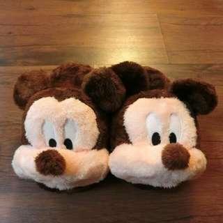 含運 可愛 質感 好摸 冬天 室內拖鞋 米奇 迪士尼 絨毛拖 正版 (含運 限全家店到店取貨 男女大人皆可穿)