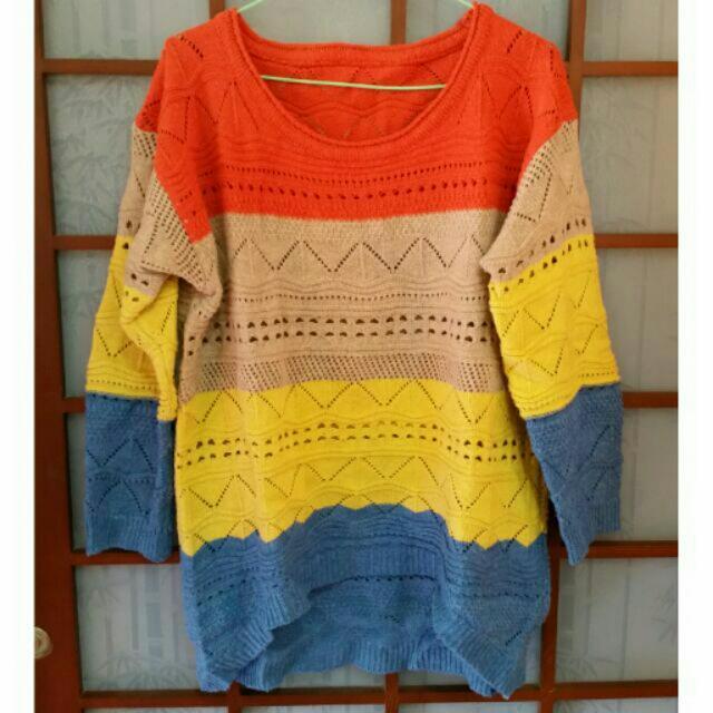 4色條紋毛衣