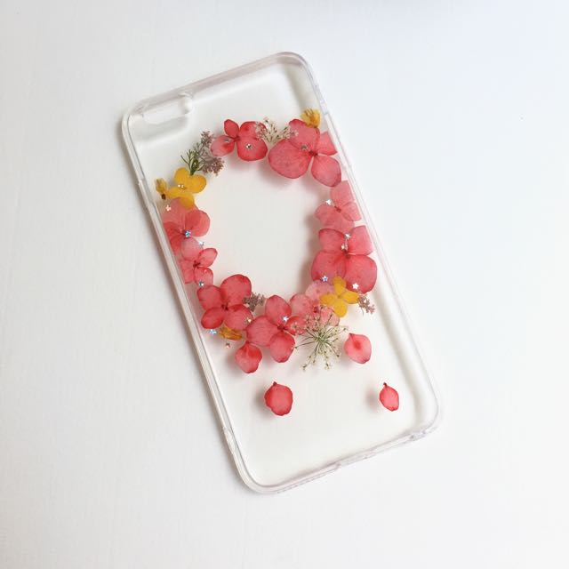 粉紅色繡球花園押花手機殼