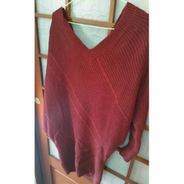 酒紅毛衣裙