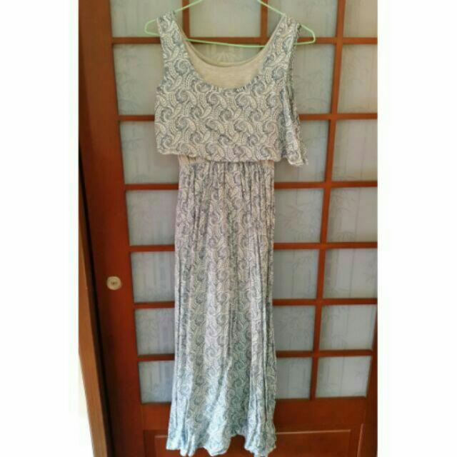藍圖騰長洋裝