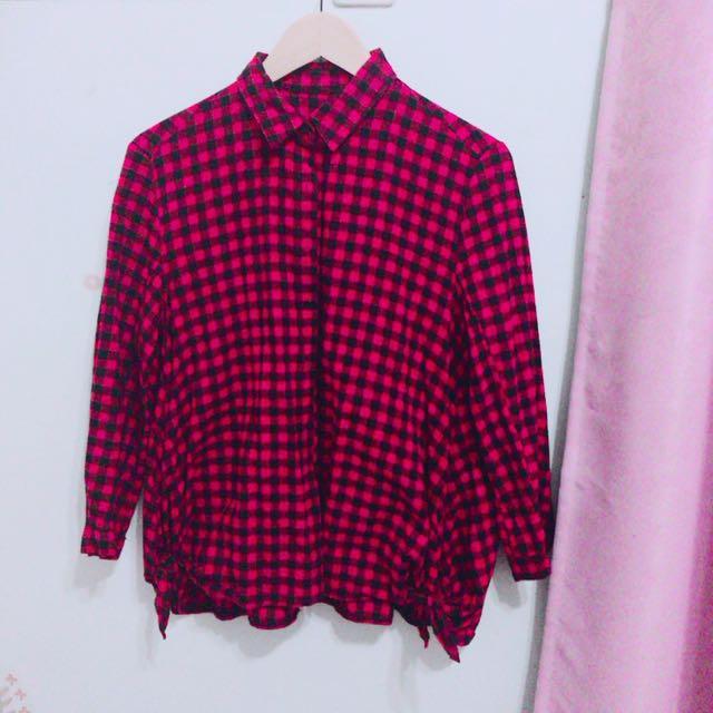 紅格紋寬鬆襯衫