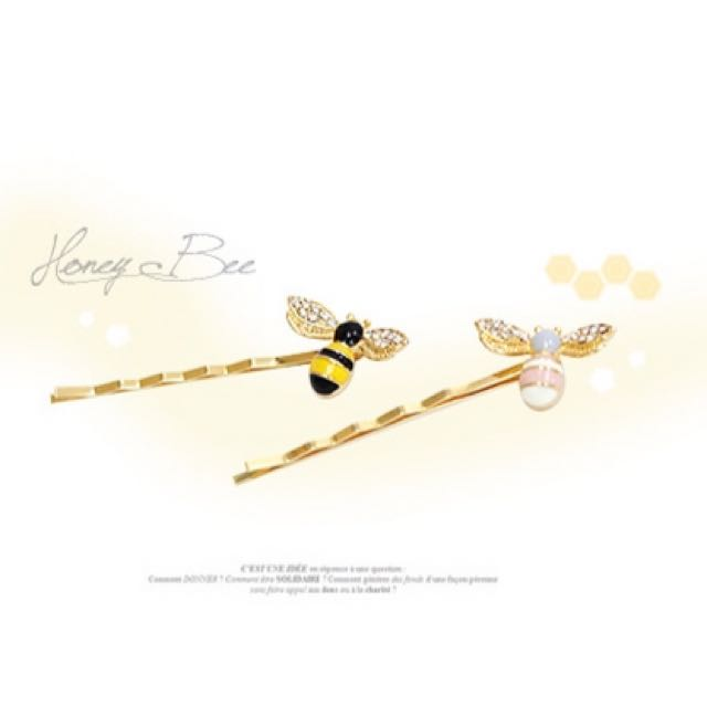 💯全新✨韓國🇰🇷可愛小蜜蜂🐝水鑽側邊髮夾 一組