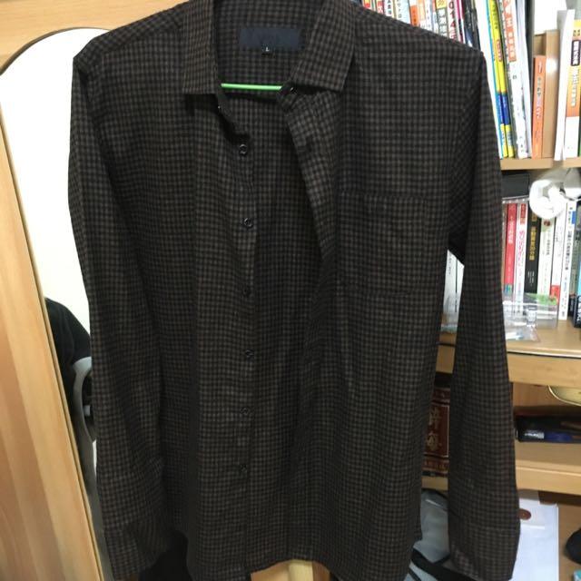 韓國製 羊毛 深咖啡 格紋襯衫 9成新