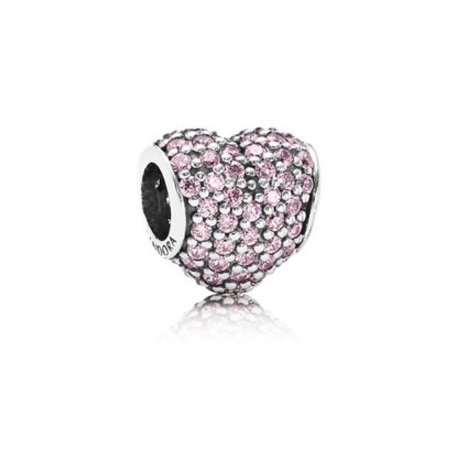 Authentic Pandora Pink Pave Heart Charm