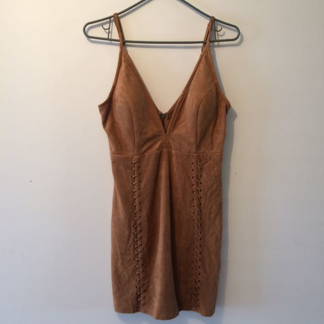 Ava & Ever Tan Suede Dress