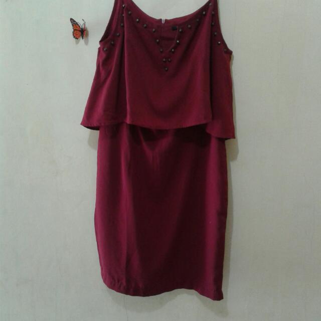 Berrybenka Icona Strap Dress Maroon
