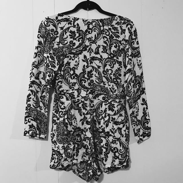 Black And White Floral Pattern Romper