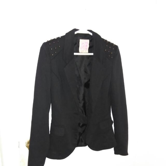 Black Blazer With Spikes Size Small