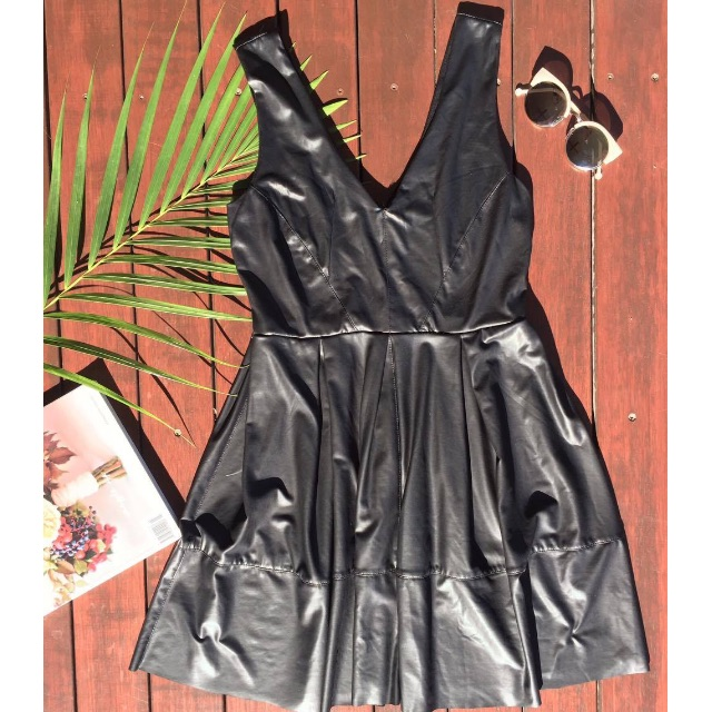 BLACK LEATHER LOOK Valley Girl V-NECK DRESS (S)