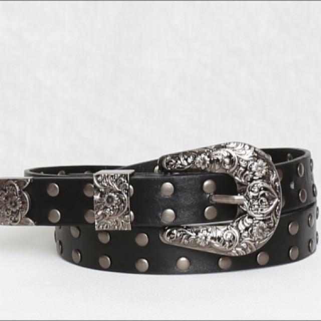 Black Studded Belt (faux Leather)