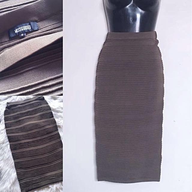 BNWOT Missguided Khaki Midi Skirt