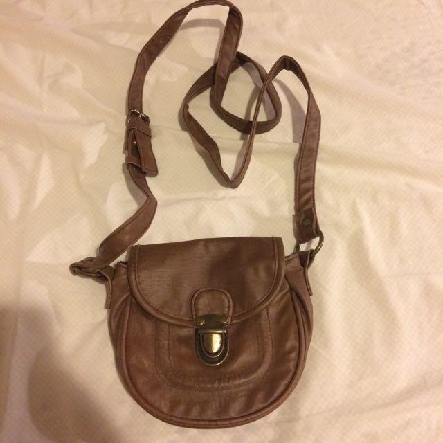 Brown Leather Look Cross Body Bag