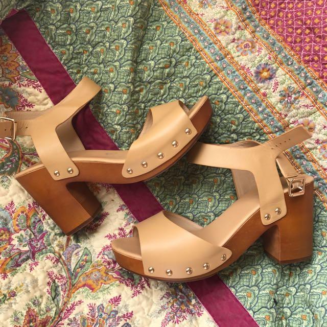 Brown Tan Wooden Heels