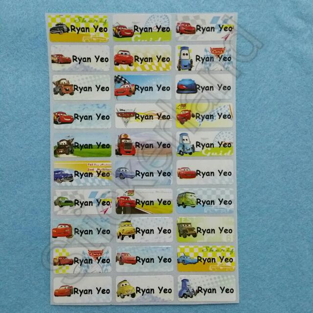 Cars Name Stickers For Books Books Stationery Stationery On