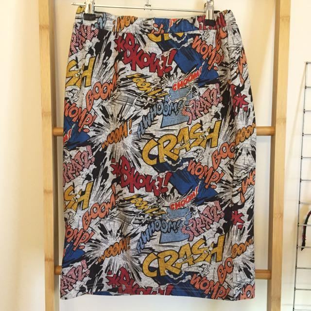 Comic Print Pop Art Midi Skirt