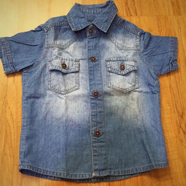 DENIM Bottom Down Shirt