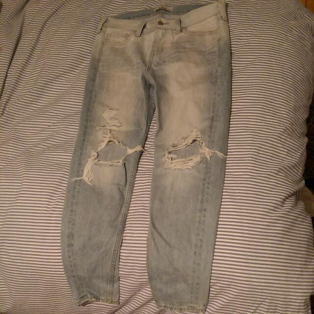 Destroyed Light Wash Hollister Jeans