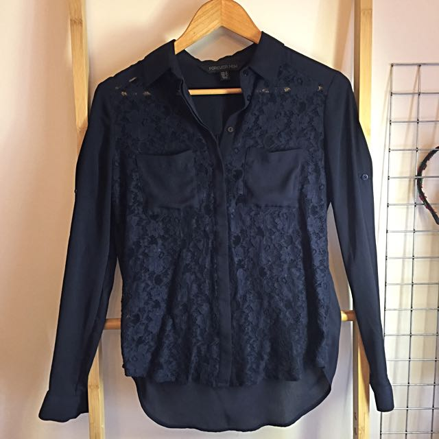 Forever New Navy Lace Shirt size 6