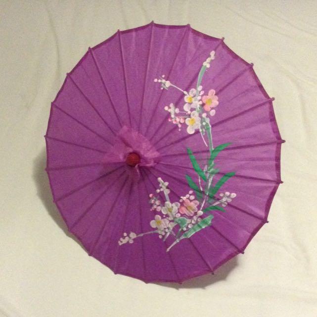 Hand Painted Purple Flower Parasol