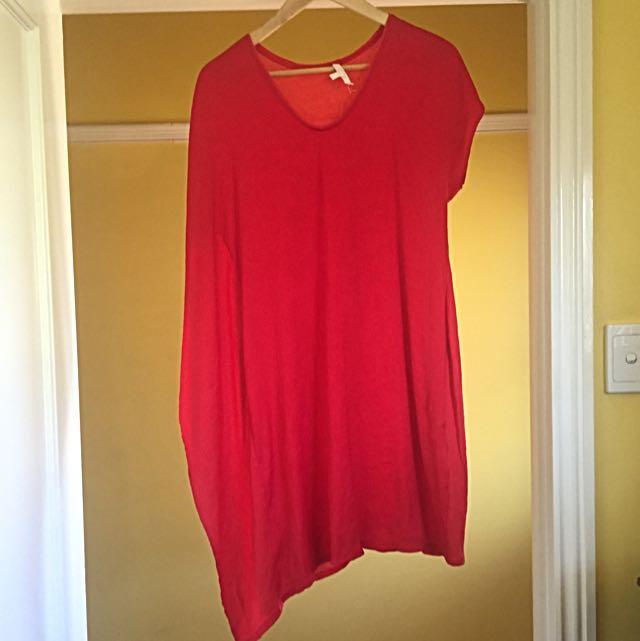 Helmut Lang. Red Asymmetrical Dress