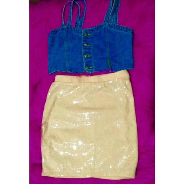 H&M sequined bandage skirt