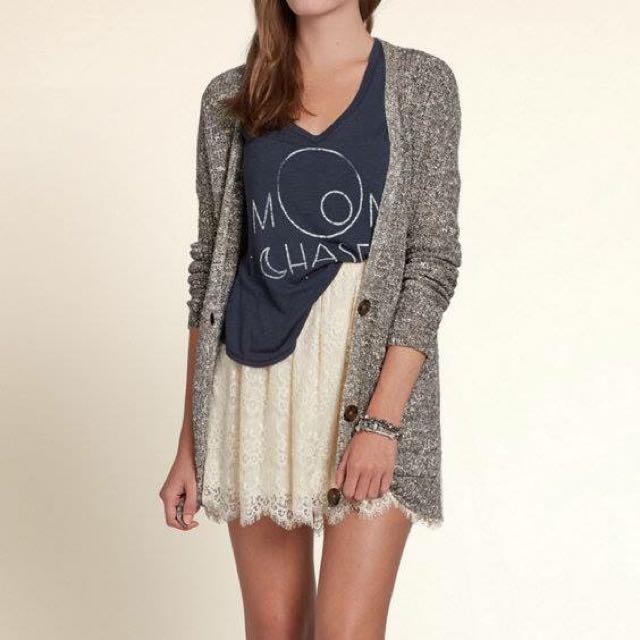 Hollister 灰色長版混針織罩衫