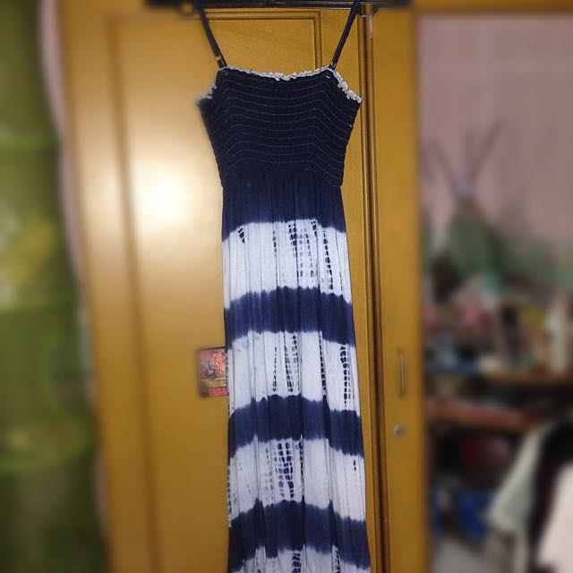 Icons Navy Summer Dress (long Dress)