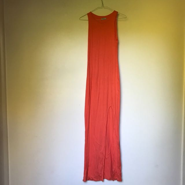 Magnificent Orange Kookai Full Length Split Dress