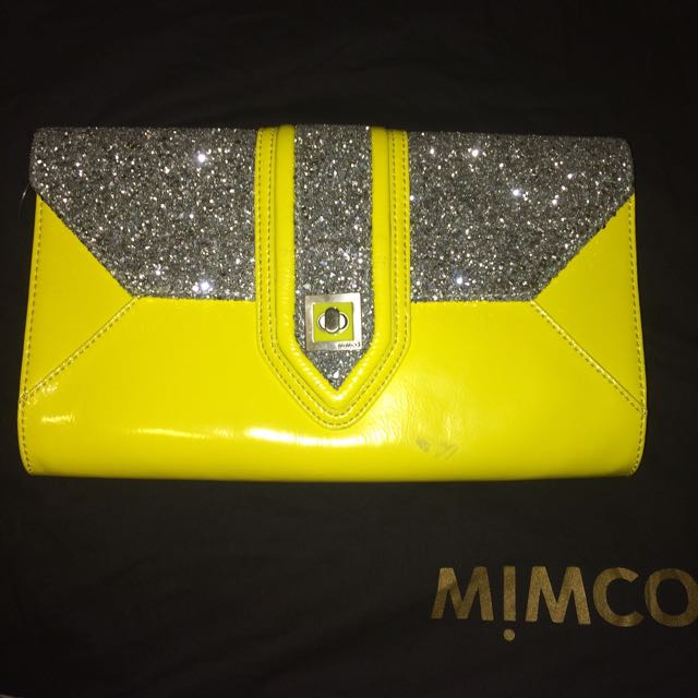 Mimco Maharajah Yellow Clutch Large Jonquil Leather Silver Bag Evening