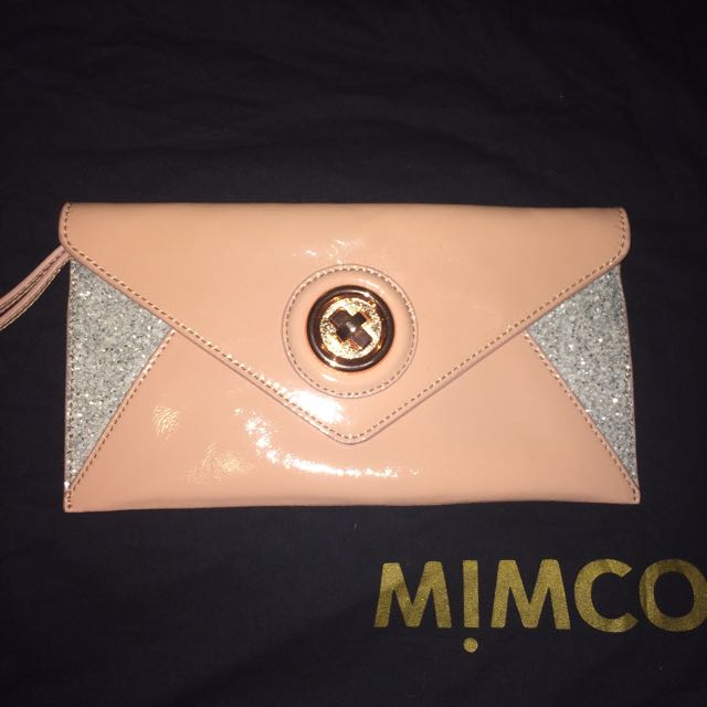 Mimco Monarch Mini Envelope Clutch Dusty Blush Pink Rose Gold