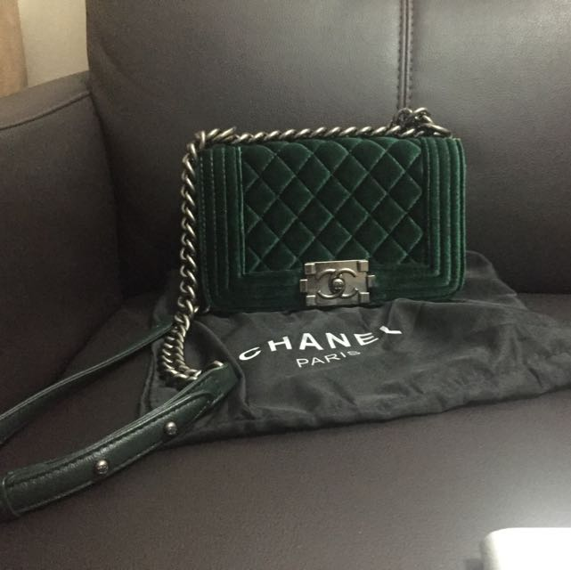 d4f24ef0bbe3 Non Authentic Chanel Velvet Green Le Boy, Luxury, Bags & Wallets on  Carousell